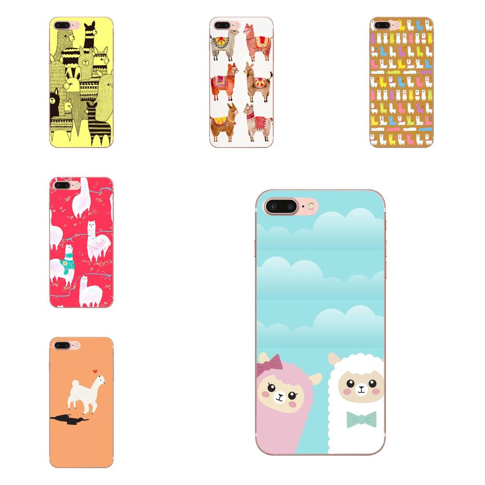 For Apple iPhone 4 4S 5 5C 5S SE 6 6S 7 8 Plus X XS Max XR Soft Silicone TPU Transparent Cases Alpacas Wallpaper Pattern image