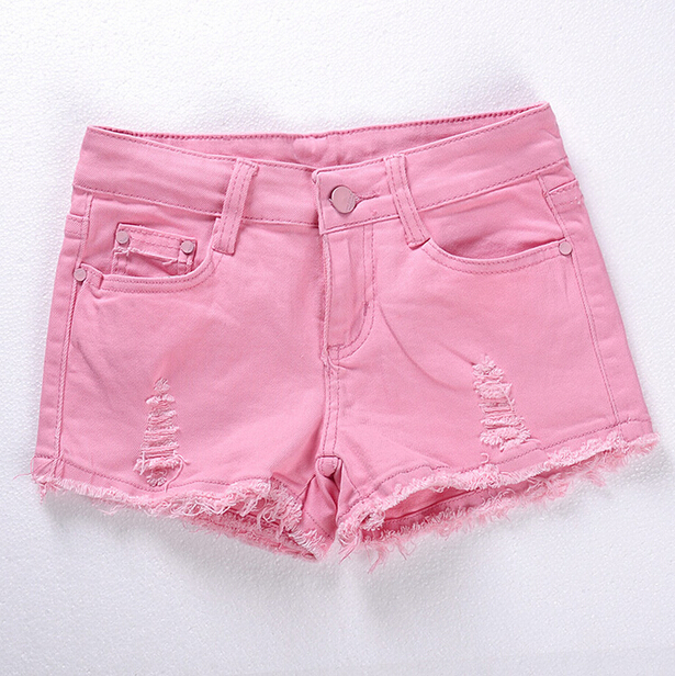 Spring and Summer Women s Fashion Casual Skinny Denim Shorts Pink Black White Hole Ripped Low