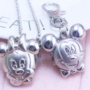 NEW Mickey Minnie Shape Cute Lovely Cartoons Pocket Watch fashion Necklace Quartz Watch With Key chain(China)