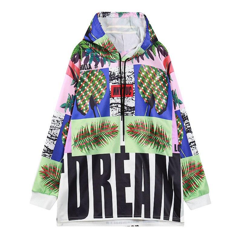 Sweat femmes vente Polyester Streetwear popeline pleine Kpop licorne 2018 nouveau à manches longues capuche femmes lâche longues feuilles