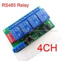 4 Channel DC 12V RS485 Relay Module Modbus RTU & AT Command Remote Control Switch for PLC PTZ Camera Security Monitoring