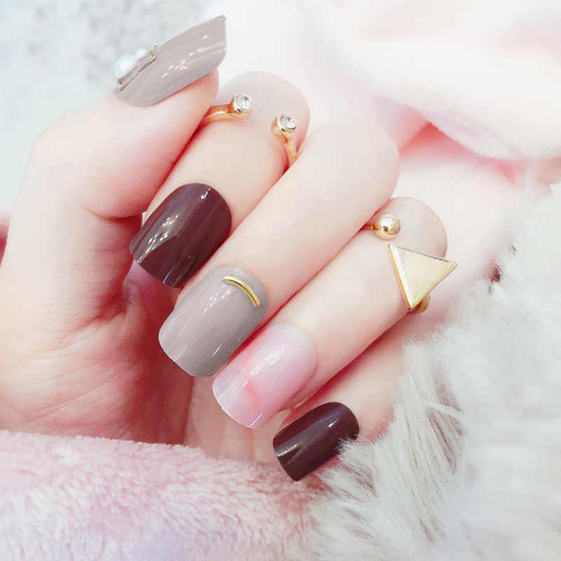 Ongles formes brun gris rose pour faux ongles faux ongles pour manucure quotidien bout court Nail Art Type avec rendu accessoires populaires