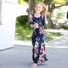 Для маленькой принцессы длинное платье Модная одежда для Обувь для девочек Наряды Бохо пляж цветочные Макси платья детская одежда Повседневное Вечерние платье для девочки