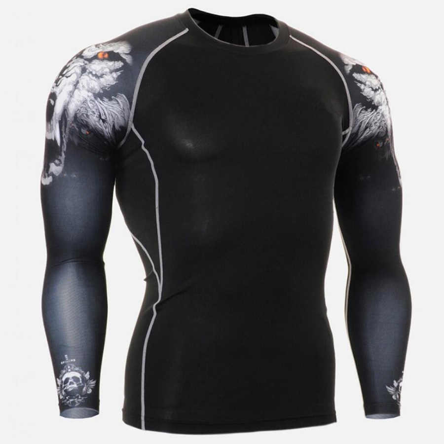 Baru Penjaga Ruam Pria Olahraga Tshirt Berjalan Celana Ketat Pria Kebugaran Pelatihan Pakaian Latihan Yg Hangat Lengan Panjang Kemeja Gym Gym Pakaian Tengkorak 3D T kemeja