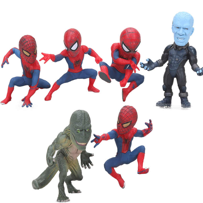 6parts Action & Toy Figures Sets Wcf The Amazing Spider-man Action Figure Electro Lizard Man Car Decoration Pvc Collection Figurine Model Toys 10cm