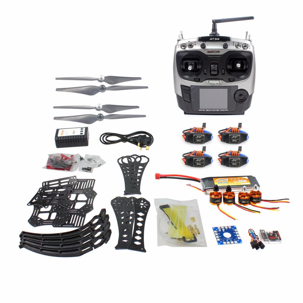 Upgrad DIY RC Drone Quadcopter with 360mm Frame Kit QQ Super Flight Control Radiolink AT9S TX battery Charger Brushless Motor