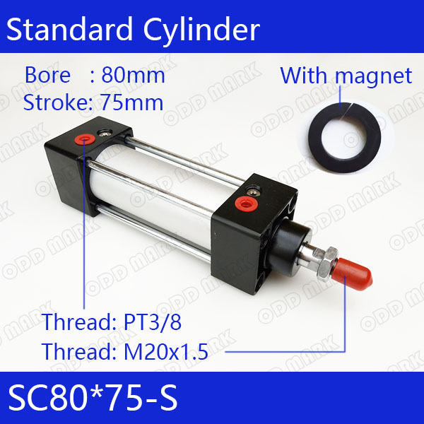SC80*75-S Free shipping Standard air cylinders valve 80mm bore 75mm stroke SC80-75-S single rod double acting pneumatic cylinder цена
