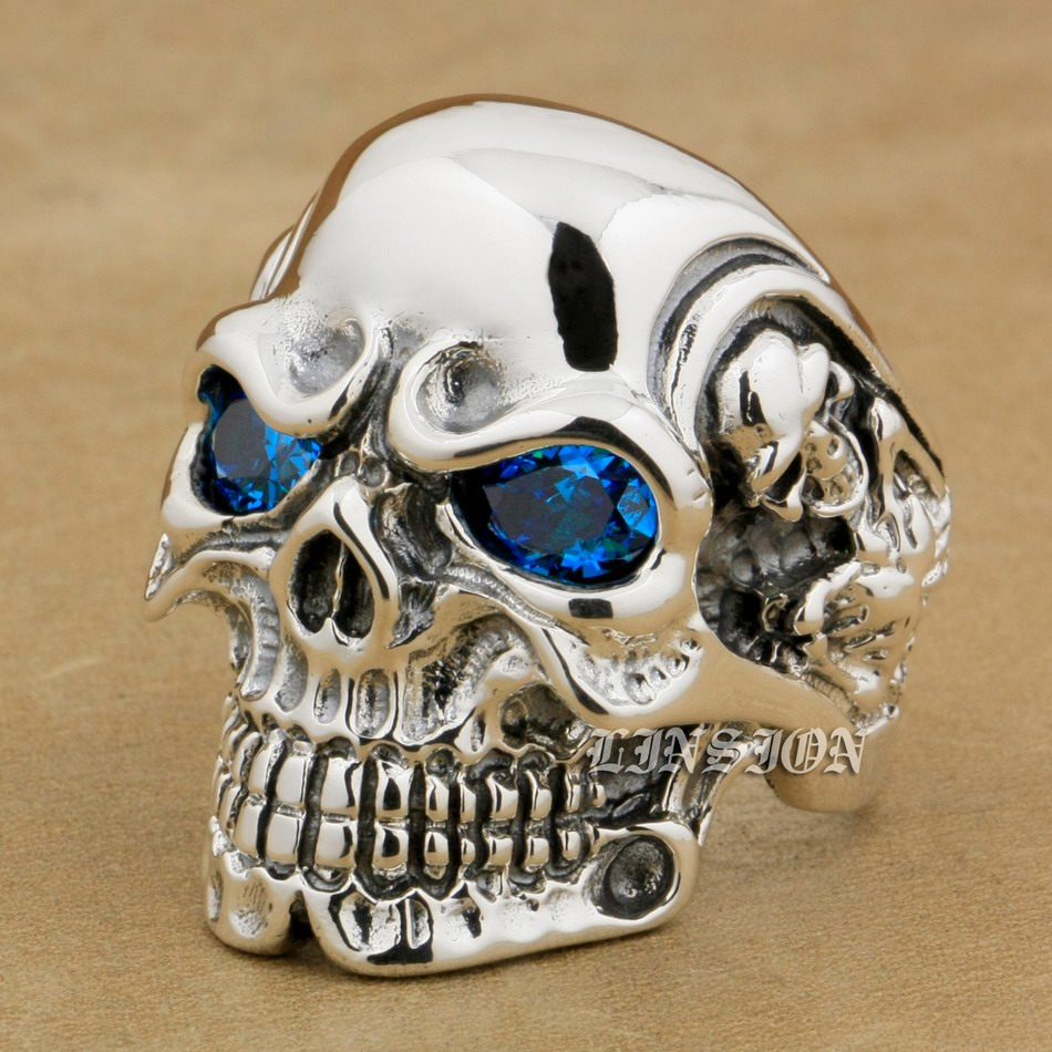 LINSION 925 Sterling Silver Titan Skull Blue CZ Stone Eyes Mens Biker Punk Ring sterling-silver-jewelry 8V305 US Size 7~15