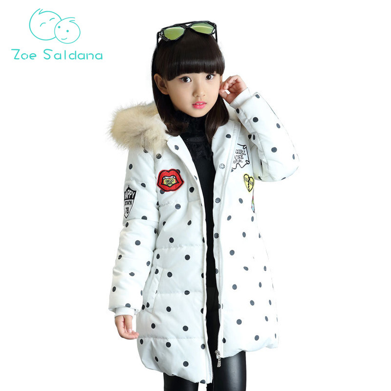 Zoe Saldana Girl's Coat 2017 New Baby Girl Clothes Winter Kids Thicken Casual Hooded Long Parkas Polka Dot Pattern Warm Coats zoe saldana girl s coat 2017 new fashion winter solid hooded long white duck down casual kids warm detachable fur collar coats
