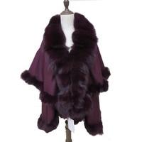 Роскошное женское кашемировое двойное пальто женское пончо из натурального Лисьего меха вечерние/свадебное украшение все вокруг 5 цветов т