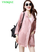 Summer Sun protection Windbreaker Coat Women Loose Long Sun protection Trench Coats Women's Seven sleeves Plus size Overcoat 121