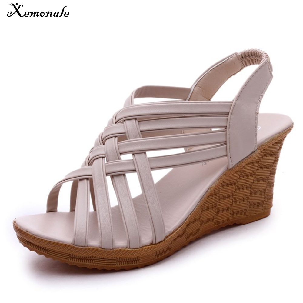 Xemonale Women Casual High Heels New Summer Solid Color Wedges High Heeled Shose Thick Bottom Sexy Peep Toe Sandals