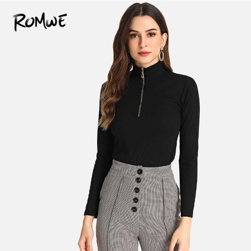 aa0389d0c967e ROMWE Long Sleeve Modern Lady Highstreet High Neck Plain Zip Detail Solid Tee  Black High Neck