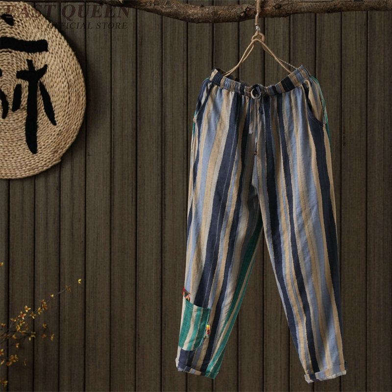 Chinese style linen Palazzo culotttes femme wide leg pants women female loose baggy ladies elegant pants trousers FF767 3