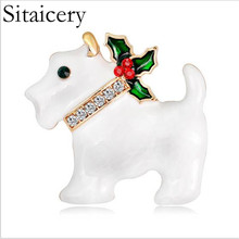 Sitaicery Lovely Crystal Rhinestone Dog Brooch Pins Animal Brooches For Women Jewelry Lucky Accessories Badge Gifts