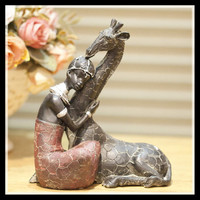 Hot African Ornaments Retro Resin Figurine Model Home Decoration Accessories