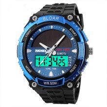 Solar Powered Hombre Reloj 2014 Relojes de Pulsera de Cuarzo Resistente Al Agua Para Los Hombres Niños Moda Militar Relojes Deportivos Relogio masculino reloj