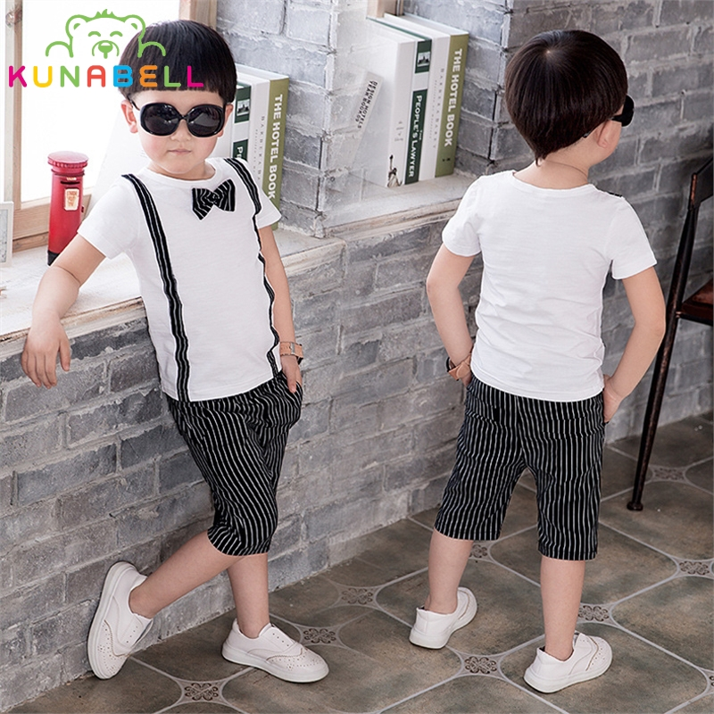 Boys Clothing Set Summer Baby Kids Fashion Suit Gentleman Shirt Stripe Pants Boy Formal Wedding Birthday Party Costume B008