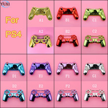 YuXi Chrome Case Front / Upper & Back / lower / under Cover Housing Shell for Sony PS4 Controller Gamepad Replacement Part