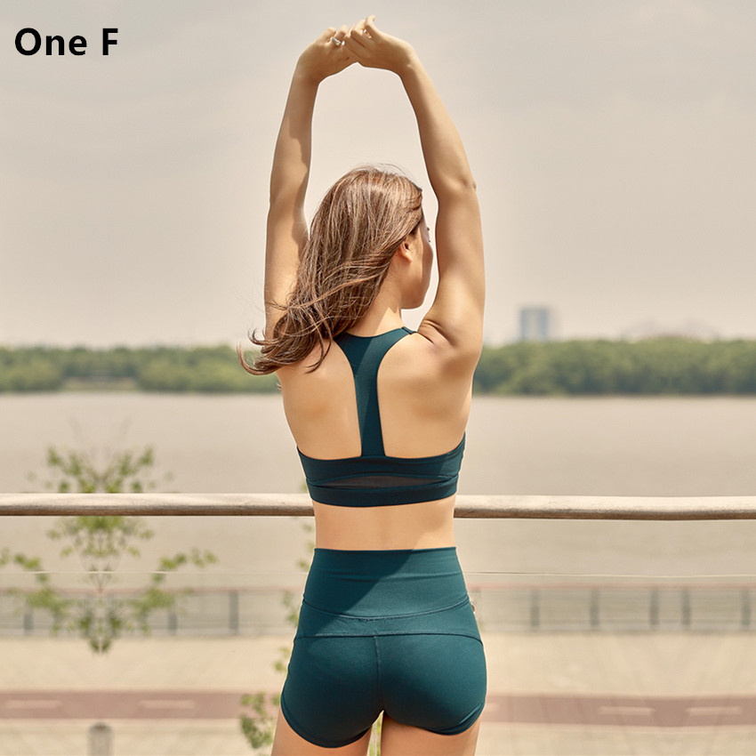c096668eac One F Mesh Sports Bra Women High Impact Shockproof Tank Top For Gym  Compression Crop Top Racerback Workout Underwear 2018