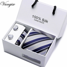 Brand New Male Tie Set Necktie Polyester Handmade Classic Dress Necktie Set Gift Box Packing Blue striped Dots Free Shipping