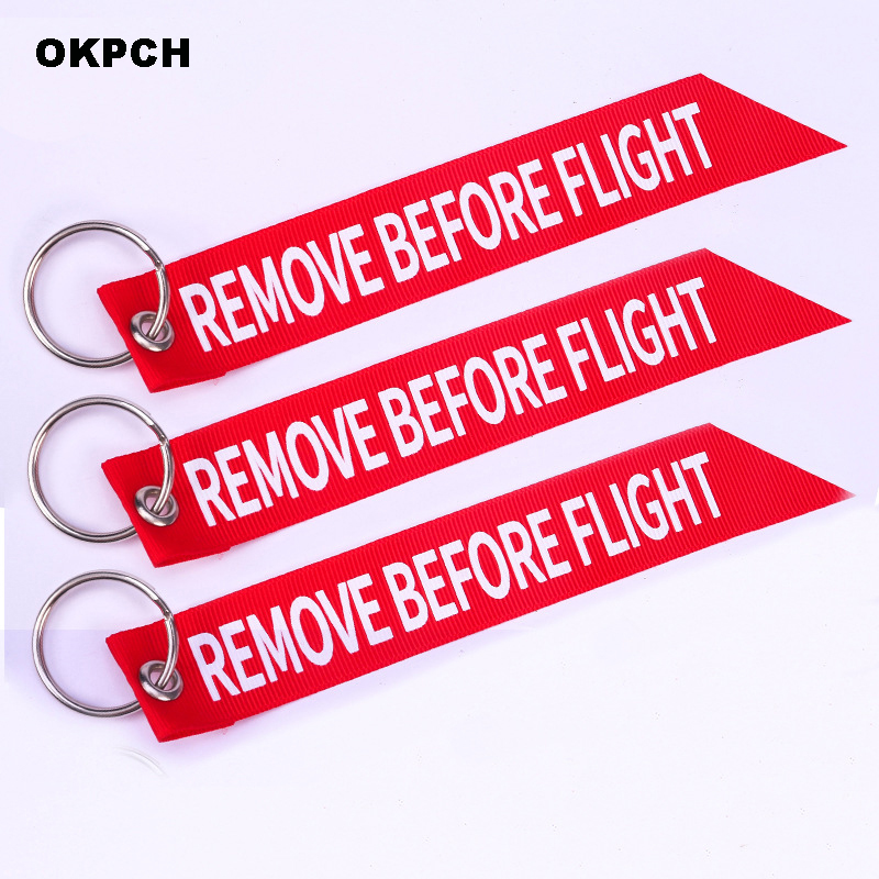 Remove Before Flight Engine Motorcycle Streamer Key Chain Red Keyrings PK-0002