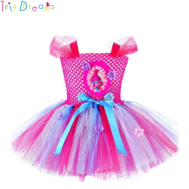 6641510adc138b Świecący księżniczka trolle Tutu sukienka zainspirowany Handmade dzieci  kolano długość Birthday Party Tutus sukienki dziewczyny Halloween