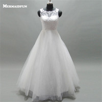 MERMAIDFUN 2017 A Line Scoop Beaded Lace Tulle Floor Length Wedding Dresses Custom Made Wedding Gown