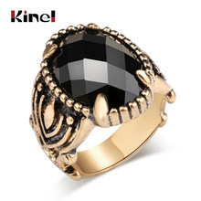 Kinel Unique Punk Ring Fashion Vintage Look Antique Glod Black Stone Men Ring Wedding Jewelry Wholesale 2018 New(China)