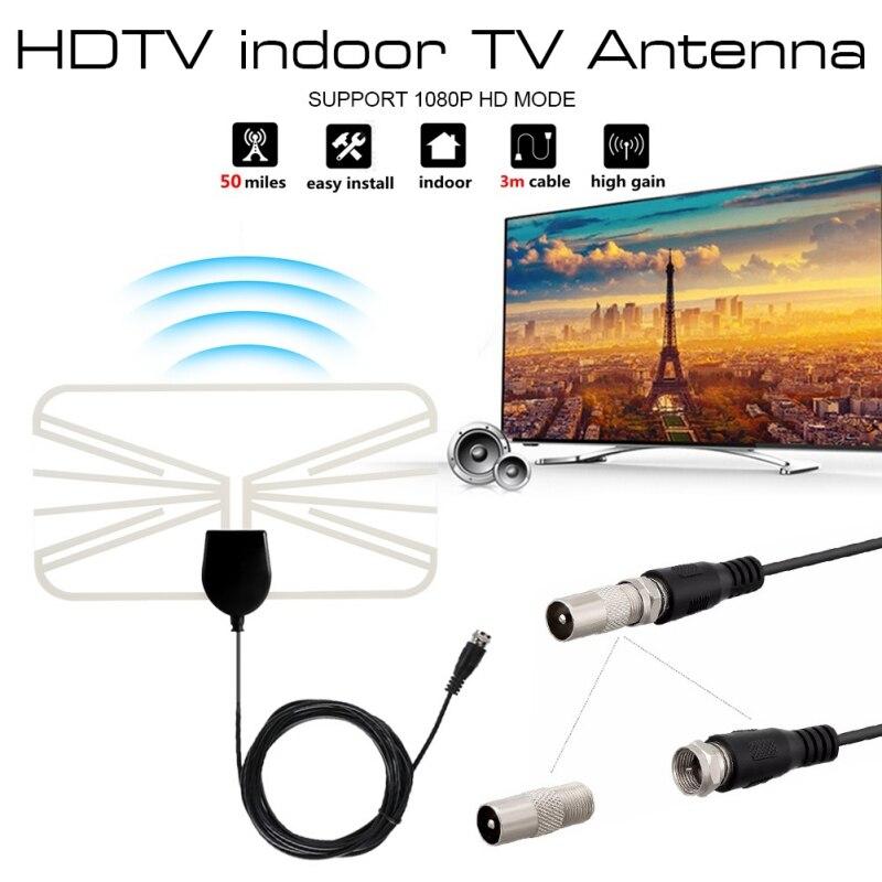 HXSJ 4K 1080P Внутренняя HD цифровая ТВ антенна 50 миль HDTV прозрачные антенны DVB-T VHF УВЧ ATSC приемник сигнала ТВ антенна