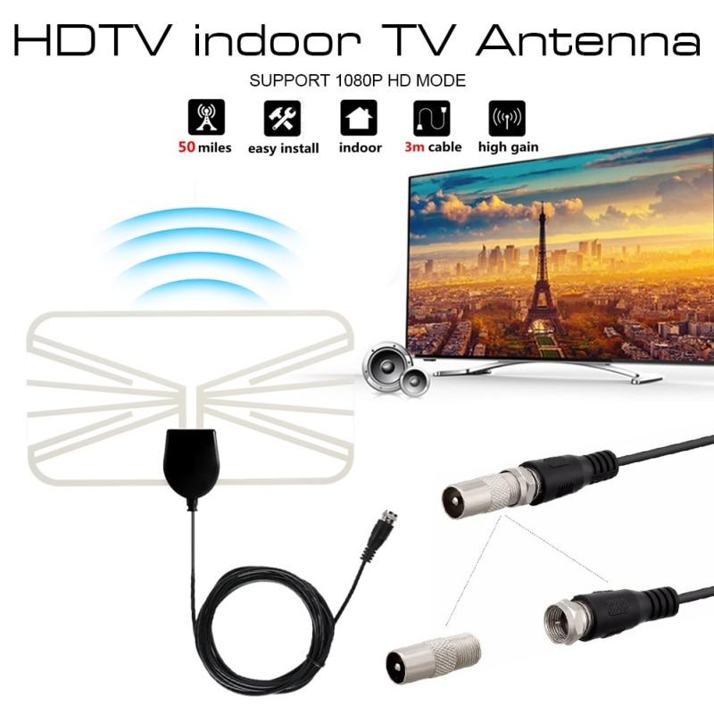 Цифровая ТВ-антенна HXSJ 4K 1080P, комнатная HD-антенна, 50 миль, HD ТВ, прозрачная антенна, DVB-T, VHF, UHF, ATSC, сигнальный приемник, ТВ-антенна