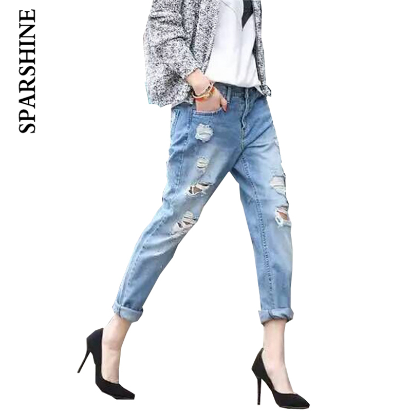 6301 women jeans high waist pencil pants female light denim pants SPARSHINE brand high waist jeans femme plus size