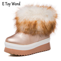 E TOY WORD Waterproof Non Slip Women Fur Snow Boots White Fox Fur Woman Winter Ankle