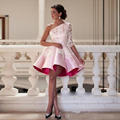 New Design 2016 Short Cocktail Dress One Shoulder Pink Lace Satin Prom Dress Appliqued Ruffle Ball Gowns Homecoming Gown Vestido
