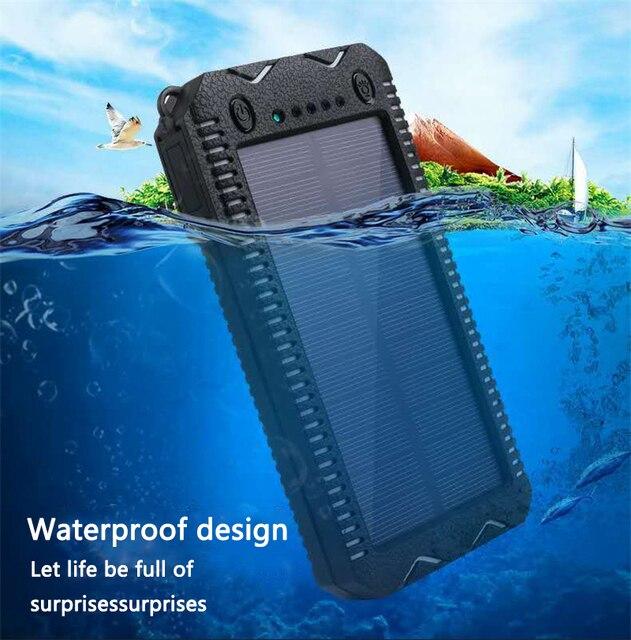 LiitoKala Lii D002 المحمولة خزان طاقة يعمل بالطاقة الشمسية 20000mah ل شاومي 2 آيفون الخارجية باور بنك لشحن البطاريات مقاوم للماء المزدوج USB
