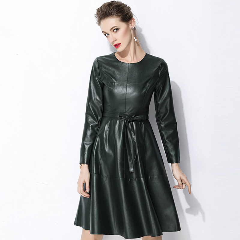 US $30.39 24% OFF|JSXDHK Vestidos Plus Size Faux Leather Dress Newest 2018  Autumn Women Blue PU Leather Long Sleeve Casual With Belt Dress S 2XL-in ...