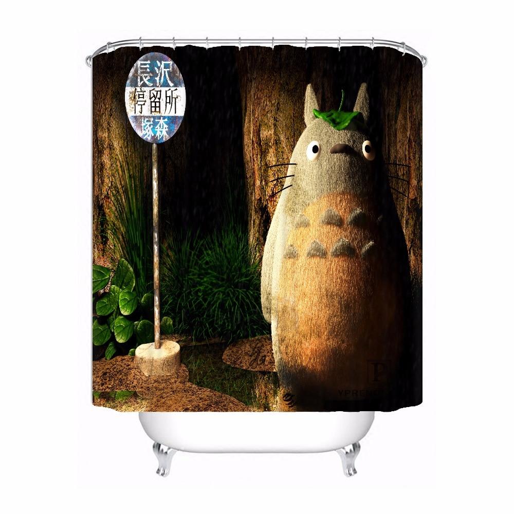 Custom Totoro Cartoon Waterproof Shower Curtain Home Bath Bathroom S Hooks Polyester Fabric Multi Sizes180509-64