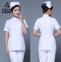 Fashion Women Summer Stand Collar Hospital Medical Scrub Set Dental Scrubs Hospital Beauty Salon Nurse Uniforms Work Tops Pants