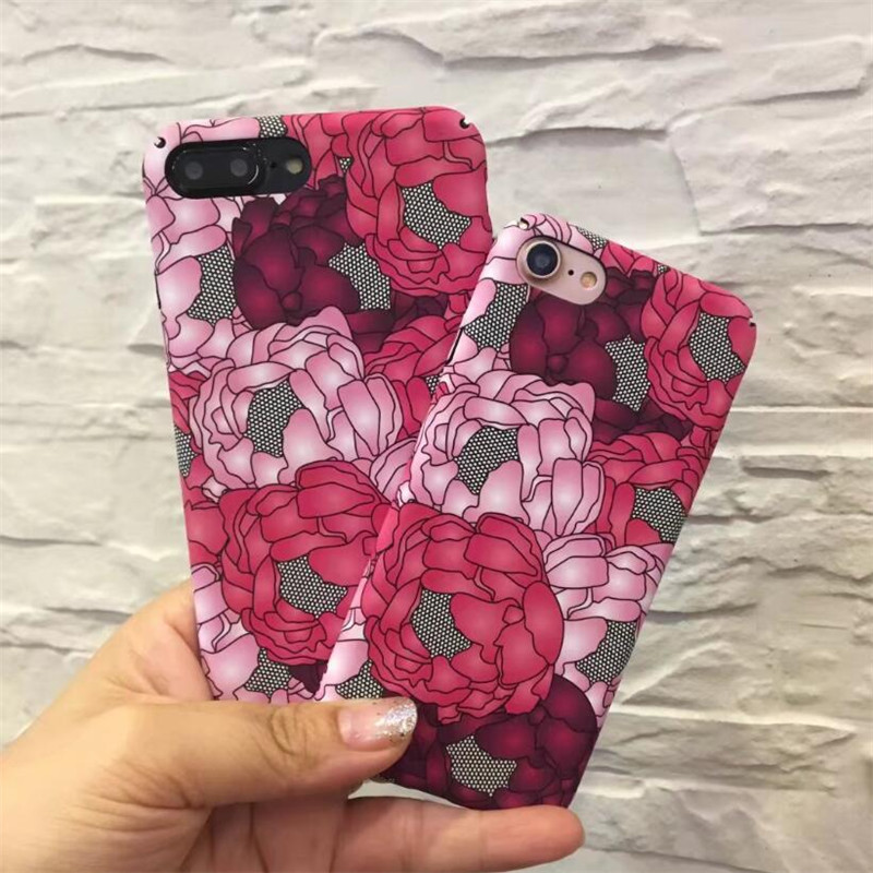 dull polish PC hard plastic Case for iphone 5 5s SE 6 6s 7 plus phone cases Fashion Rose flowering plant pattern back cover