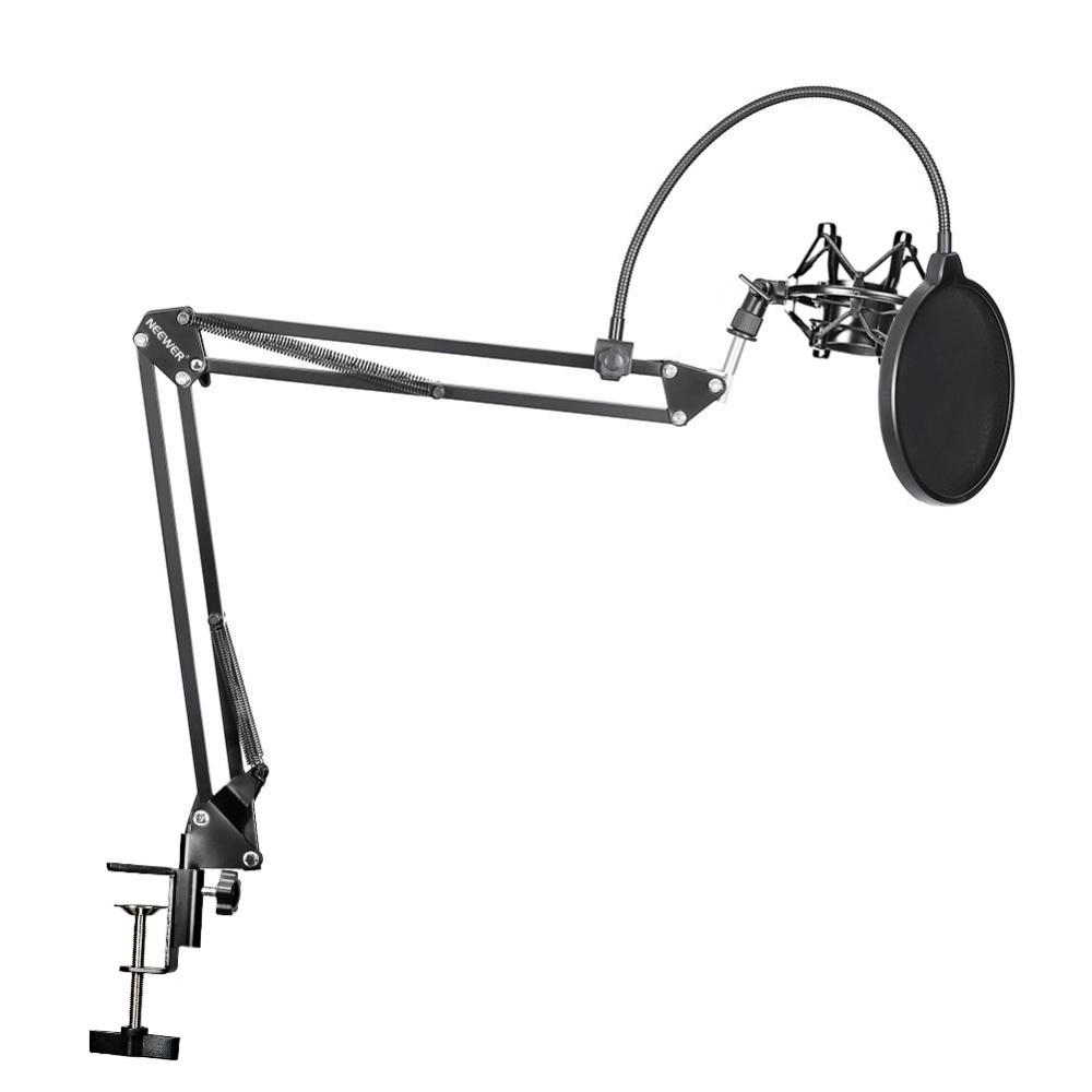 Neewer NB-35 micrófono suspensión brazo soporte Clip soporte y abrazadera de montaje de mesa filtro Pop máscara de parabrisas juego de montaje de golpes