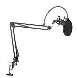 Neewer NB-35 Подвеска для микрофона, подставка, держатель с зажимом и настольный монтажный зажим, поп-фильтр, маска на ветровое стекло, Ударный ко...