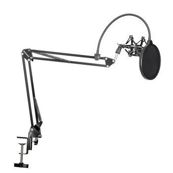 Neewer NB-35 Microfone Suspensão Braço de Suporte Clip Holder e Mesa Braçadeira De Montagem de Choque Máscara Pop Filtro Windscreen Montar Kit