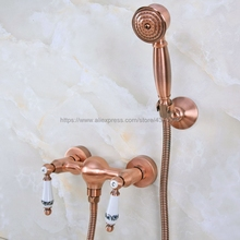 Bathroom Antique Red Copper Rainfall Hand Shower Faucet Set Mixer Tap With Hand Sprayer Wall Mounted Nna300