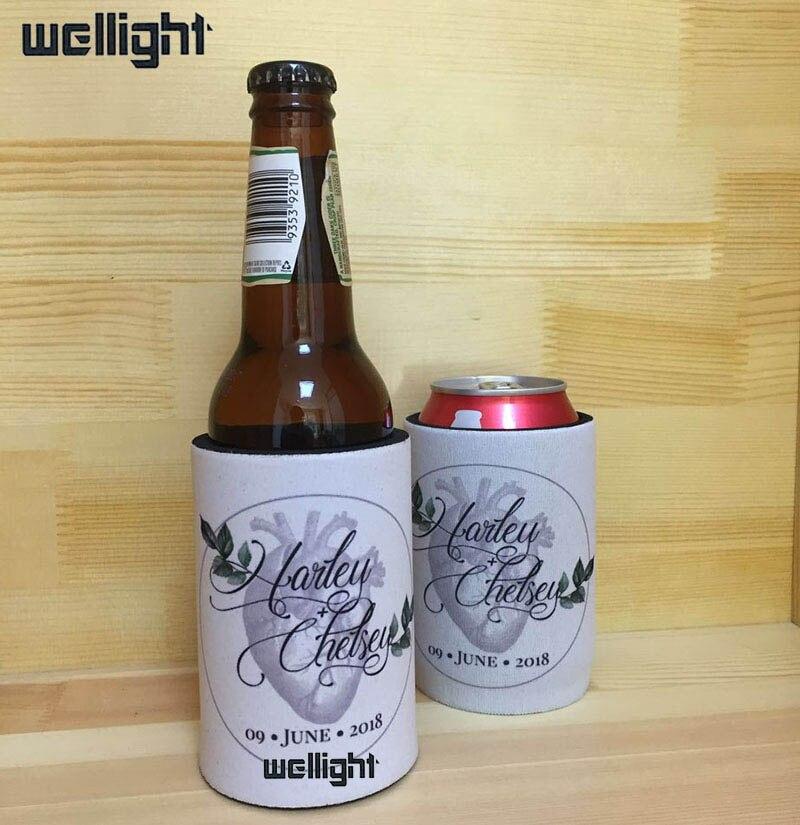 US $182 0 |140pcs White Neoprene Stubby Holders Custom Logo Printing Beer  Cooler Bags Insulated Beer Bottle Sleeve Cover For Wedding Gifts-in Cooler