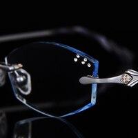 Glasses diamond female diamond trimming glasses rimless titanium with presbyopia finished glasses frame color 87