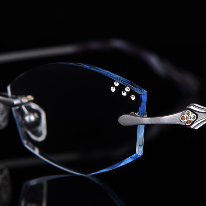 Glasses diamond female diamond trimming glasses rimless titanium with presbyopia finished glasses frame color 87