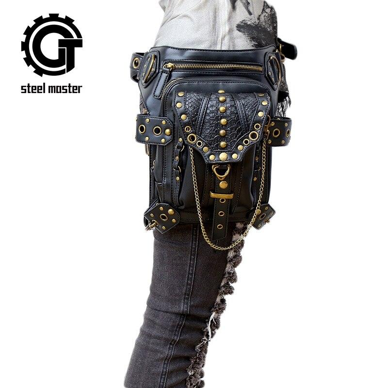 ᗕMaestro de acero punk retro cuero cintura Fanny packs hombro ...