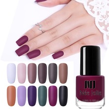 NEE JOLIE Matte Effetc Nail Polish Black Pure Color Pink Art Oily Varnish Manicure Lacquer