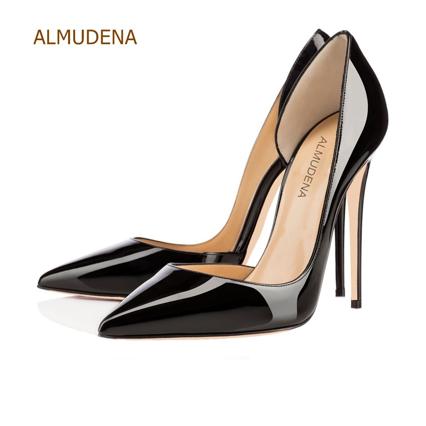 ALMUDENA Top Brand 2018 Spring Summer Black Nude Mirror Leather Pumps Sexy Stiletto Heels Irregular Shallow Cut Wedding Shoes victor turismo 10x20 5x130 et50 0 d71 gloss black mirror cut li