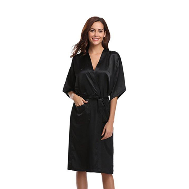 Black Women s Kimono Robe Dressing Gown Long Classic Satin Wedding  Nightwear Sexy Nightgown Novelty Bath Gown Nightgown D128-08 b068af1c6